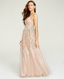 Juniors' Floral-Embroidered Gown