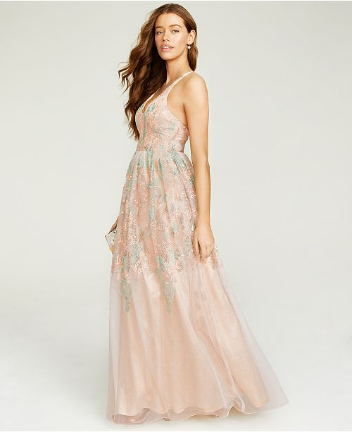City Studios Juniors' Floral-Embroidered Gown