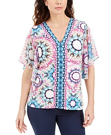 Plus Size Abstract-Print Flutter-Sleeve Top, Created for Macy's