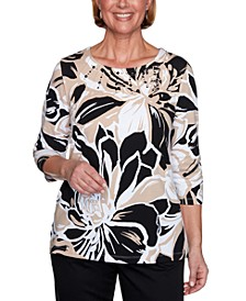 Classics Exploded Floral Printed Embellished Top