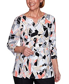 Classics Stained Glass Printed Embellished Top