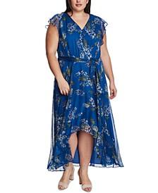 Plus Size Floral-Print High-Low Dress
