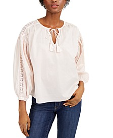 Freya Cotton Lace-Trim Peasant Top