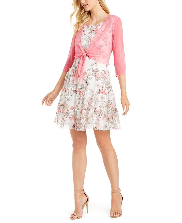 Connected Chiffon Tiered Dress & Tie-Front Shrug