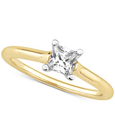 Certified Diamond Princess Solitaire Engagement Ring (1/2 ct. t.w.) in 14k Gold
