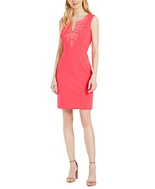Embroidered Split-Neck Sheath Dress