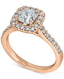 Diamond Cushion Halo Engagement Ring (1-1/2 ct. t.w.) in 14k Rose Gold