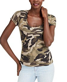 INC The Basic Scoop Printed T-Shirt, Created for Macy's