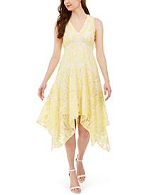 Two-Tone Lace Handkerchief-Hem Dress