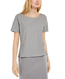 Shadow-Stripe Scoopneck Top