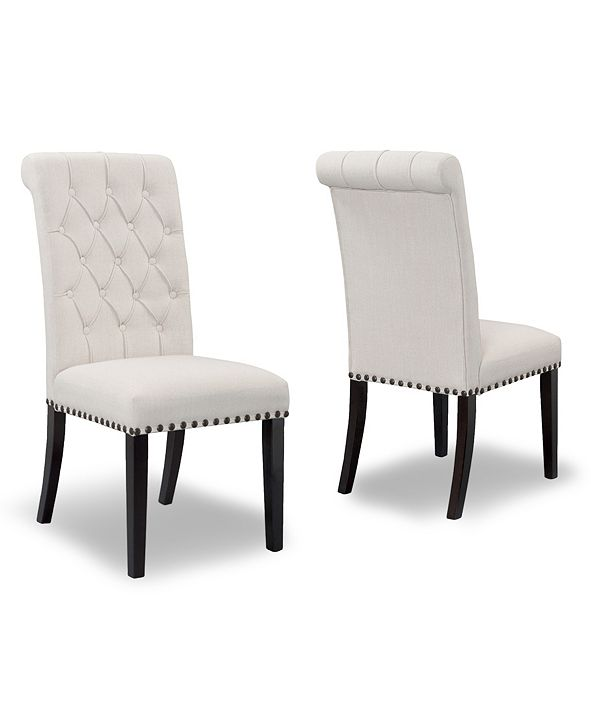Glamour Home Set of 2 Aleki Fabric Dining Chair Roll Back with Tufted Buttons and Nail Heads