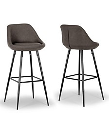 Set of 2 Aldis Barstool with Metal Legs and Decorative Zipper
