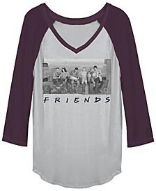 Friends Grayscale Skyline Group Portrait Raglan Baseball Women's T-Shirt