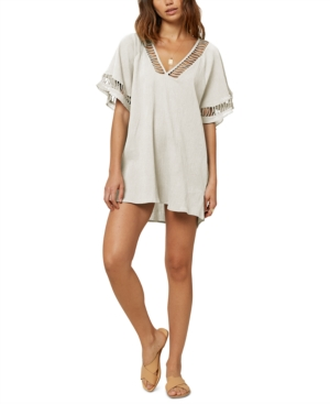 O'neill Juniors' Wallows Cotton Crochet Cover-up Tunic Women's Swimsuit In White