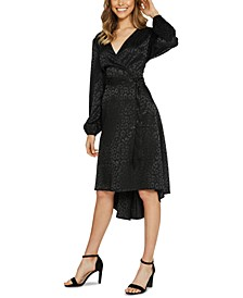 Leopard Faux-Wrap Dress