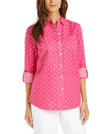 Linen-Blend Dot-Print Blouse, Created for Macy's