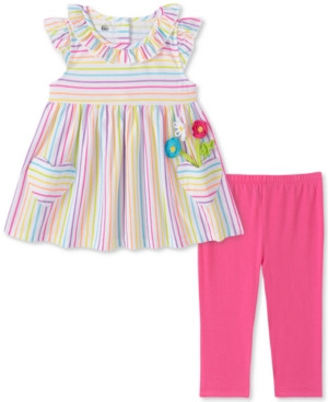 Kids Headquarters Baby Girls 2-Pc. Stripe Tunic & Leggings Set