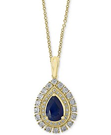 "EFFY® Sapphire (1-1/3 ct. t.w.) & Diamond (1/5 ct. t.w.) 18"" Pendant Necklace in 14k Gold & White Gold"