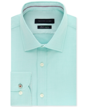 Tommy Hilfiger Men's Slim-Fit Non-Iron Th Flex Performance Stretch Solid Dress Shirt