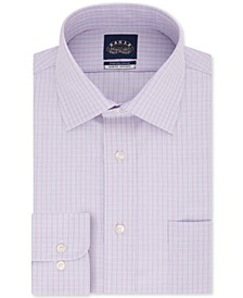 Men's Slim-Fit Non-Iron Stretch Collar Dusty Lavender Check Dress Shirt