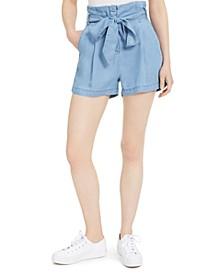 Chambray Cotton Paperbag-Waist Shorts