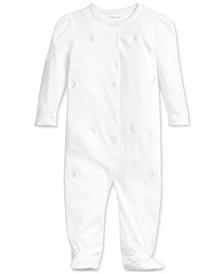 폴로 랄프로렌 여아용 우주복 Polo Ralph Lauren Baby Girls Embroidered Cotton Coverall,White