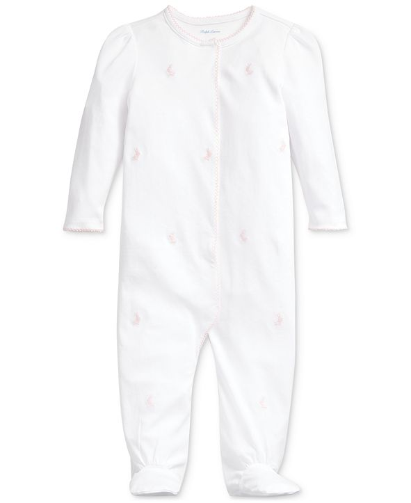 Polo Ralph Lauren Baby Girls Embroidered Cotton Coverall