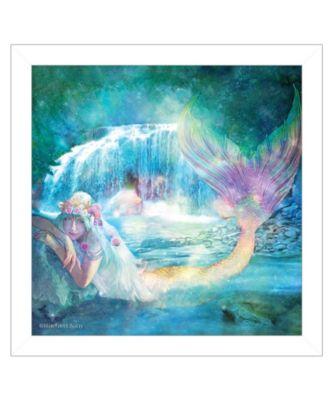 Woodland Cove Mermaid by Bluebird Barn, Ready to hang Framed Print, Black Frame, 15