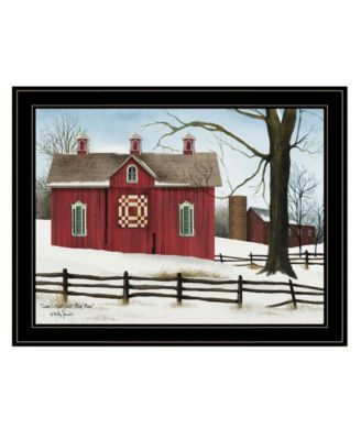Lover's Knot Quilt Block Barn by Billy Jacobs, Ready to hang Framed Print, Black Frame, 19