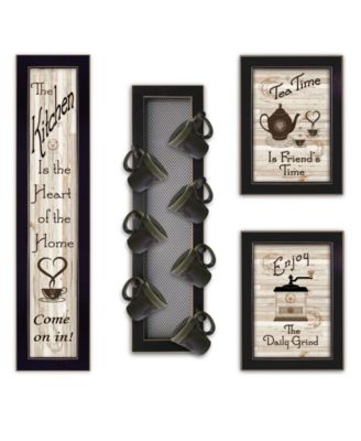 Kitchen Collection V 4-Piece Vignette with 7-Peg Mug Rack by Millwork Engineering, White Frame, 32