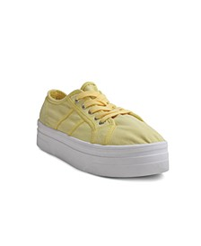 Women's Washed Canvas Upper Platform Sneaker