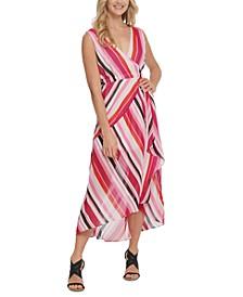 Striped High-Low Maxi Dress