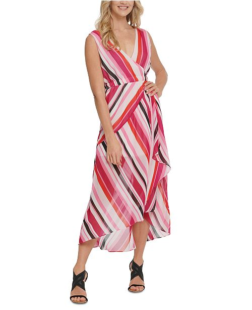 DKNY Striped High-Low Maxi Dress
