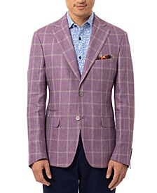 Orange Men's Slim-Fit Lavender Windowpane Linen Sport Coat