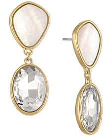 Gold-Tone White Stone & Crystal Double Drop Earrings