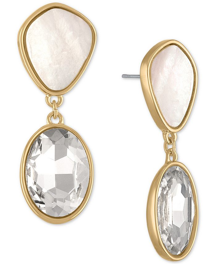 RACHEL Rachel Roy - Gold-Tone White Stone & Crystal Double Drop Earrings
