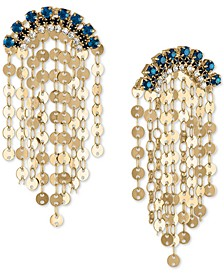 Gold-Tone Blue Crystal & Disc Shaky Drop Earrings