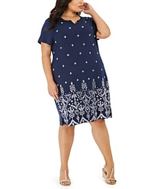 Plus Size Eyelet Split-Neck Dress, Created for Macy's