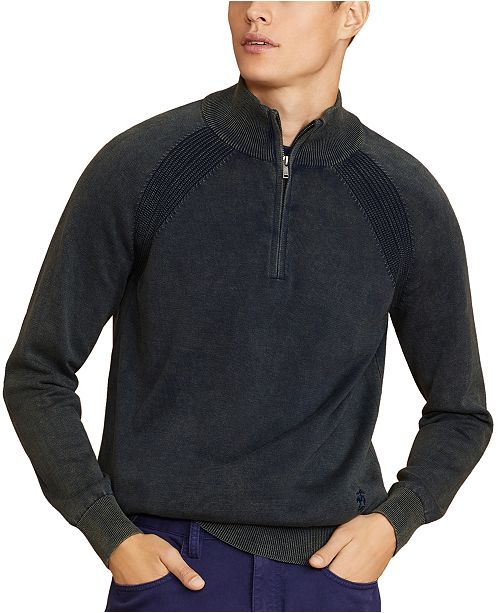 Brooks Brothers Men's Acid-Wash Half-Zip Sweater, Created For Macy's