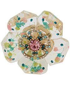 Gold-Tone Crystal Flower Statement Stretch Ring