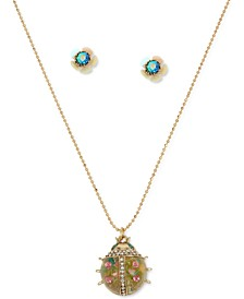"Gold-Tone Flower Stud Earrings & Floral Ladybug Pendant Necklace, 16"" + 3"" extender"