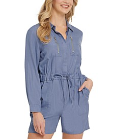 Long-Sleeve Utility Romper