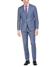 Men's Modern-Fit Blue Plaid Suit Separates