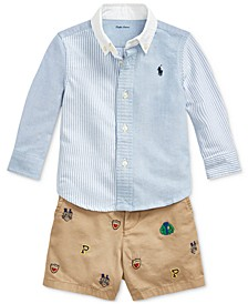 Baby Boys Cotton Shirt, Belt & Shorts Set