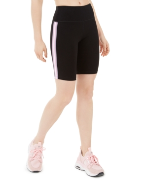 Calvin Klein Performance Ribbed-stripe High-waist Bike Short In Sakura Combo