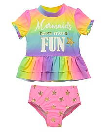 Infant Girls 2 Piece Rashguard Set Featuring Rainbow Design