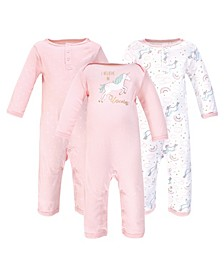 Baby Girls and Boys Glitter Unicorn Coveralls, Pack of 3
