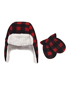 Baby Girls and Boys Fleece Trapper Hat and Mitten Set, Pack of 2