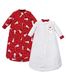 Baby Girls and Boys Santa Snowman Long-Sleeve Fleece Sleeping Bag, Pack of 2