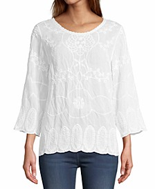 John Paul Richard Embroidered Cotton Top